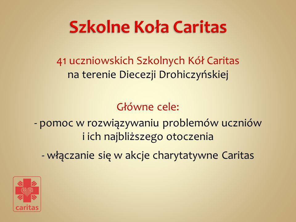 41 uczniowskich Szkolnych Kół Caritas na terenie Diecezji Drohiczyńskiej Główne cele: - pomoc w rozwiązywaniu problemów uczniów i ich najbliższego oto