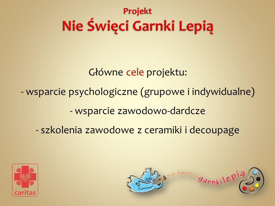 Główne cele projektu: - wsparcie psychologiczne (grupowe i indywidualne) - wsparcie zawodowo-dardcze - szkolenia zawodowe z ceramiki i decoupage