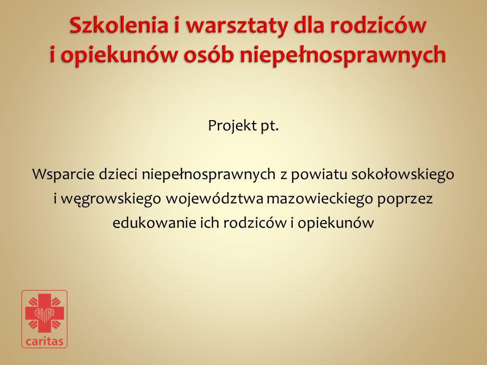 Projekt pt. Wsparcie dzieci niepełnosprawnych z powiatu sokołowskiego i węgrowskiego województwa mazowieckiego poprzez edukowanie ich rodziców i opiek