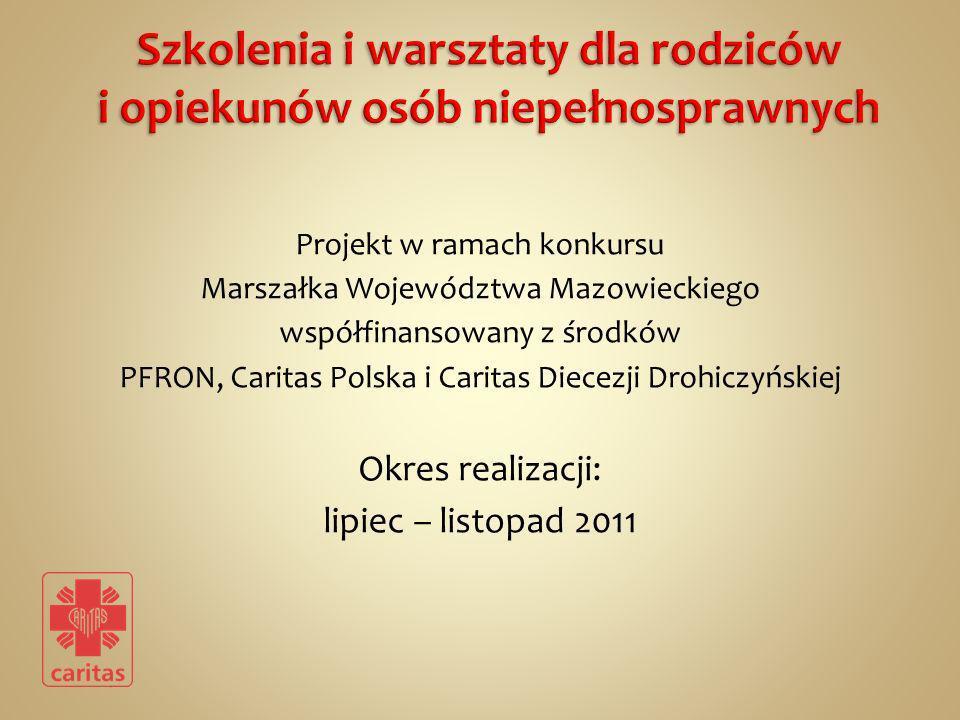 Projekt w ramach konkursu Marszałka Województwa Mazowieckiego współfinansowany z środków PFRON, Caritas Polska i Caritas Diecezji Drohiczyńskiej Okres