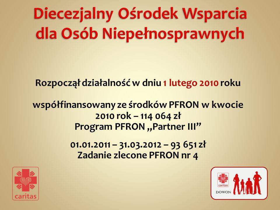 Rozpoczął działalność w dniu 1 lutego 2010 roku współfinansowany ze środków PFRON w kwocie 2010 rok – 114 064 zł Program PFRON Partner III 01.01.2011 – 31.03.2012 – 93 651 zł Zadanie zlecone PFRON nr 4