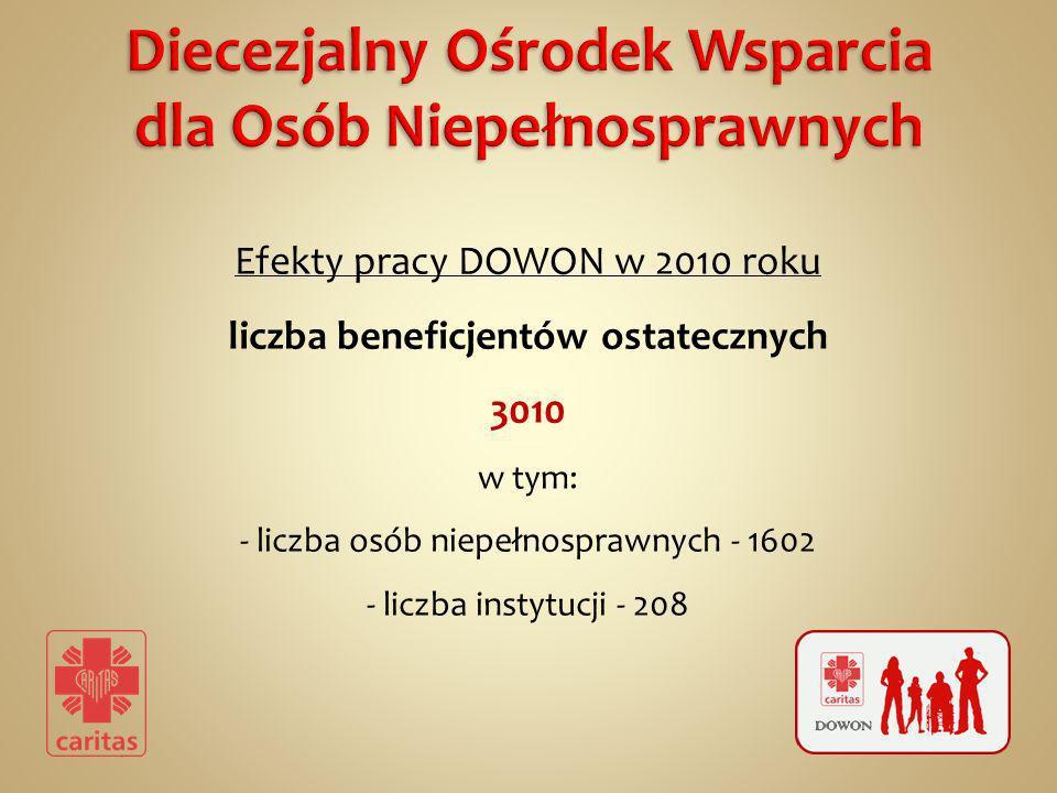 Efekty pracy DOWON w 2010 roku liczba beneficjentów ostatecznych 3010 w tym: - liczba osób niepełnosprawnych - 1602 - liczba instytucji - 208