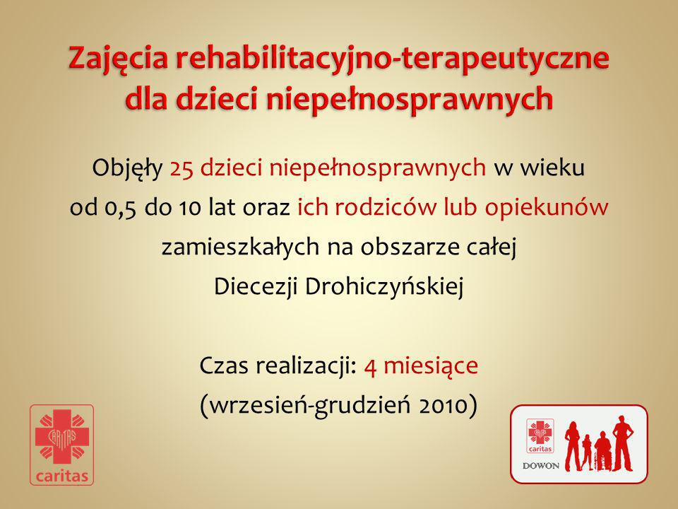 Objęły 25 dzieci niepełnosprawnych w wieku od 0,5 do 10 lat oraz ich rodziców lub opiekunów zamieszkałych na obszarze całej Diecezji Drohiczyńskiej Czas realizacji: 4 miesiące (wrzesień-grudzień 2010)