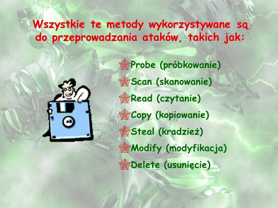 Wszystkie te metody wykorzystywane są do przeprowadzania ataków, takich jak: Probe (próbkowanie) Scan (skanowanie) Read (czytanie) Copy (kopiowanie) S