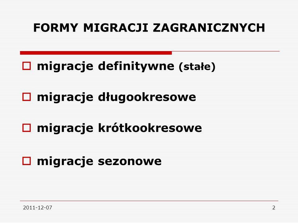 2011-12-073 RODZAJE MIGRACJI ZAGRANICZNYCH migracje dobrowolne migracje wymuszone (niedobrowolne) migracje legalne migracje nielegalne migracje zarobkowe migracje związane z nauką