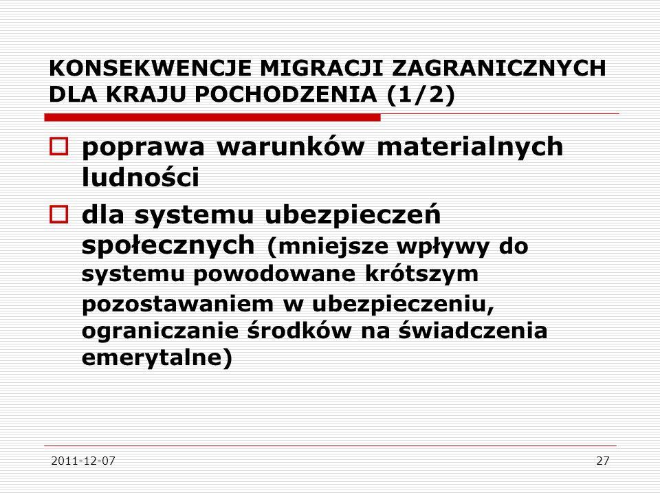 2011-12-0727 KONSEKWENCJE MIGRACJI ZAGRANICZNYCH DLA KRAJU POCHODZENIA (1/2) poprawa warunków materialnych ludności dla systemu ubezpieczeń społecznych (mniejsze wpływy do systemu powodowane krótszym pozostawaniem w ubezpieczeniu, ograniczanie środków na świadczenia emerytalne)