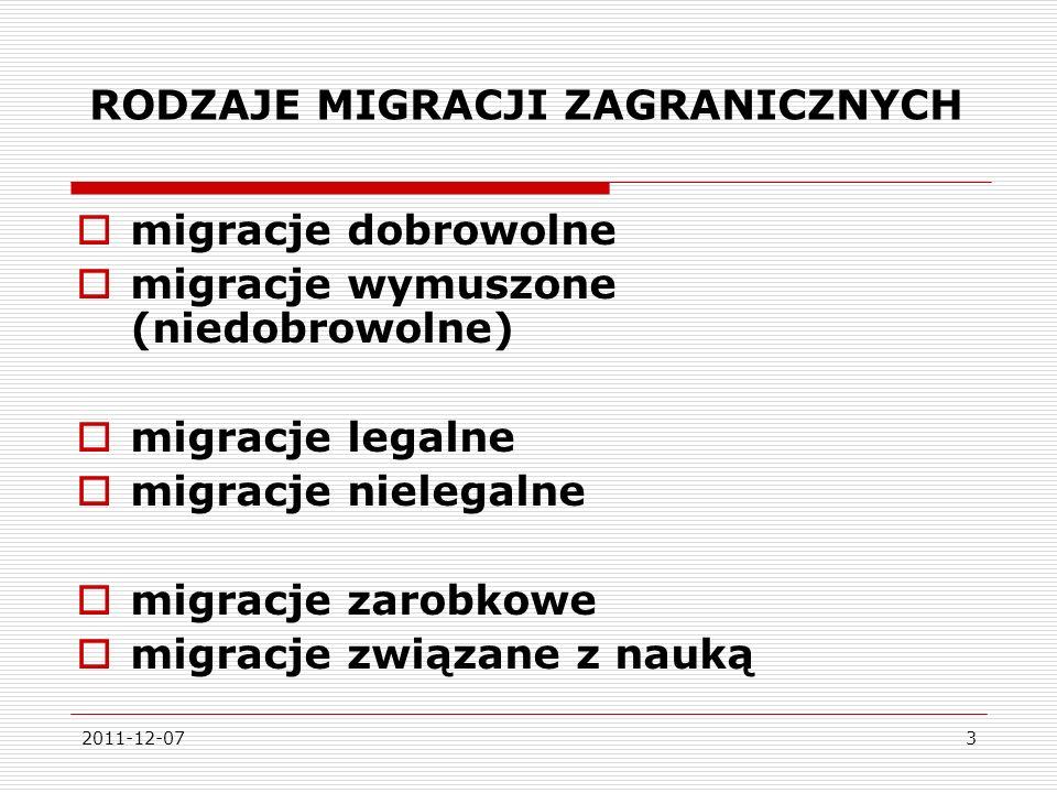 2011-12-0724 WSPÓŁCZESNA EMIGRACJA CZASOWA Z POLSKI to emigracja zarobkowa -80-85% osób wyjechało za granicę w związku z pracą emigracja długookresowa – ok.