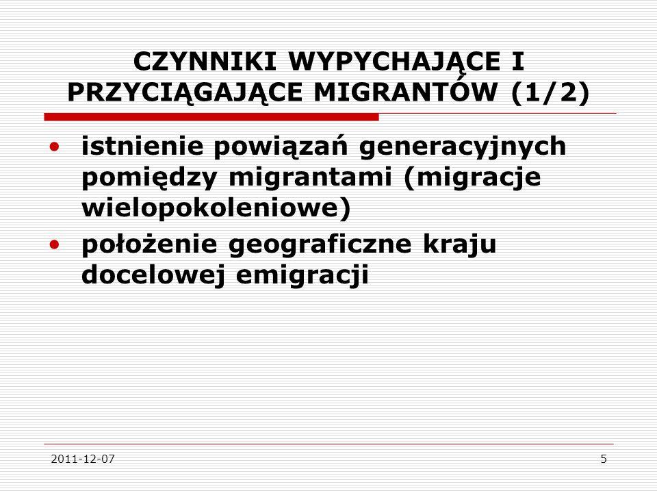 2011-12-075 CZYNNIKI WYPYCHAJĄCE I PRZYCIĄGAJĄCE MIGRANTÓW (1/2) istnienie powiązań generacyjnych pomiędzy migrantami (migracje wielopokoleniowe) położenie geograficzne kraju docelowej emigracji