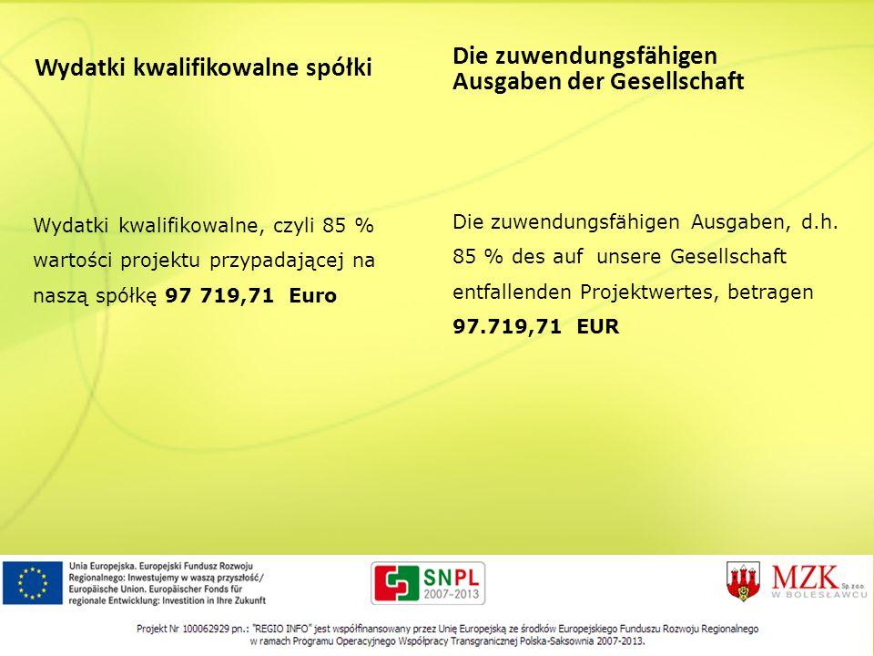 Wydatki kwalifikowalne spółki Wydatki kwalifikowalne, czyli 85 % wartości projektu przypadającej na naszą spółkę 97 719,71 Euro Die zuwendungsfähigen