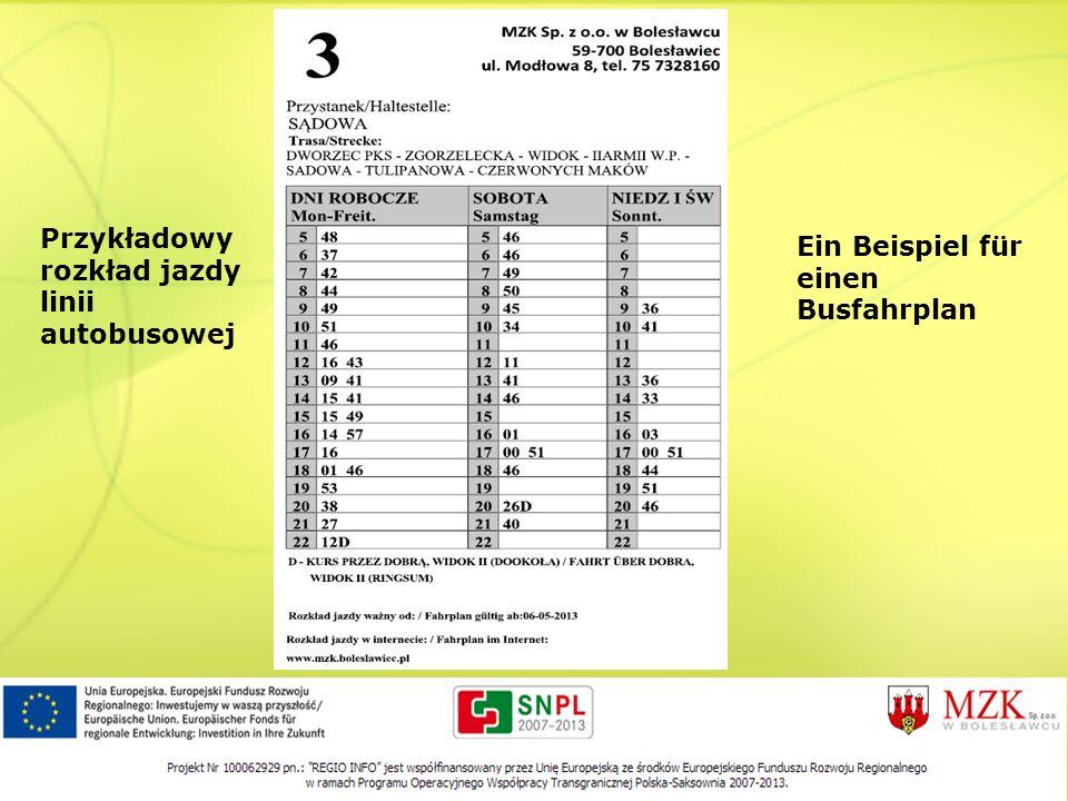 Przykładowy rozkład jazdy linii autobusowej Ein Beispiel für einen Busfahrplan
