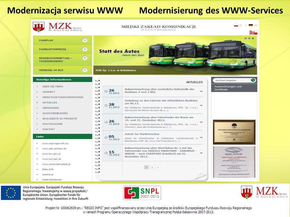 Modernizacja serwisu WWWModernisierung des WWW-Services