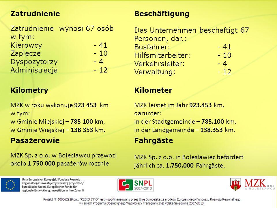 Zatrudnienie Zatrudnienie wynosi 67 osób w tym: Kierowcy- 41 Zaplecze- 10 Dyspozytorzy- 4 Administracja- 12 Beschäftigung Das Unternehmen beschäftigt