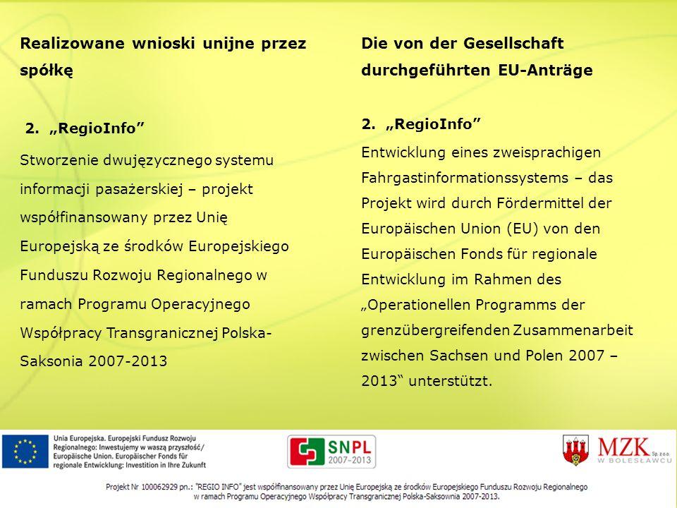 Realizowane wnioski unijne przez spółkę 2. RegioInfo Stworzenie dwujęzycznego systemu informacji pasażerskiej – projekt współfinansowany przez Unię Eu