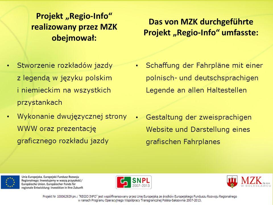 Projekt Regio-Info realizowany przez MZK obejmował: Das von MZK durchgeführte Projekt Regio-Info umfasste: Stworzenie rozkładów jazdy z legendą w języ