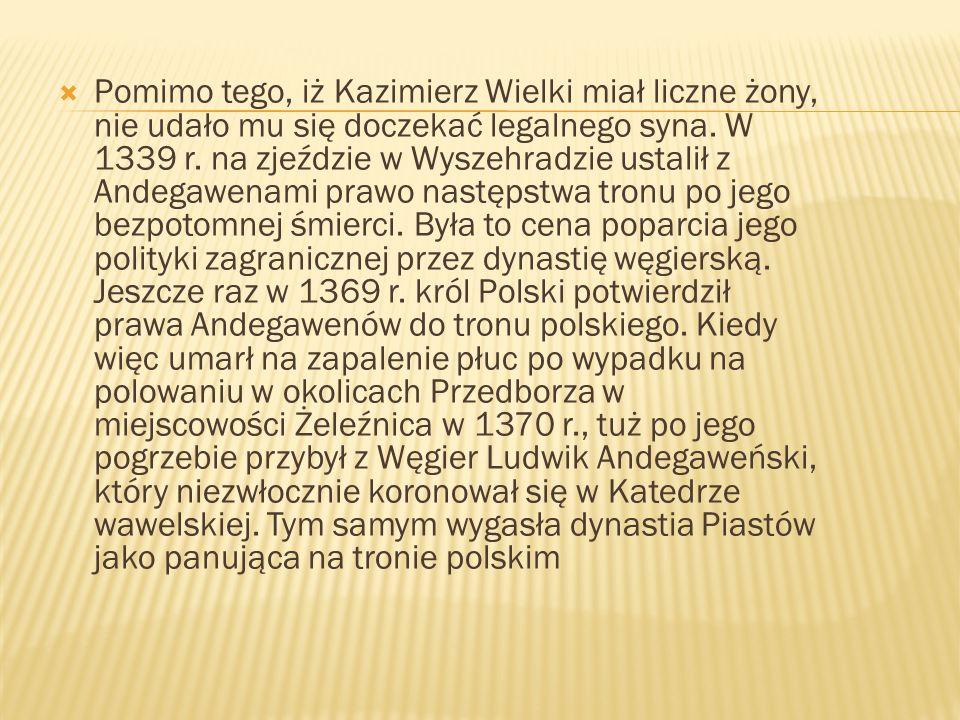 Pomimo tego, iż Kazimierz Wielki miał liczne żony, nie udało mu się doczekać legalnego syna. W 1339 r. na zjeździe w Wyszehradzie ustalił z Andegawena