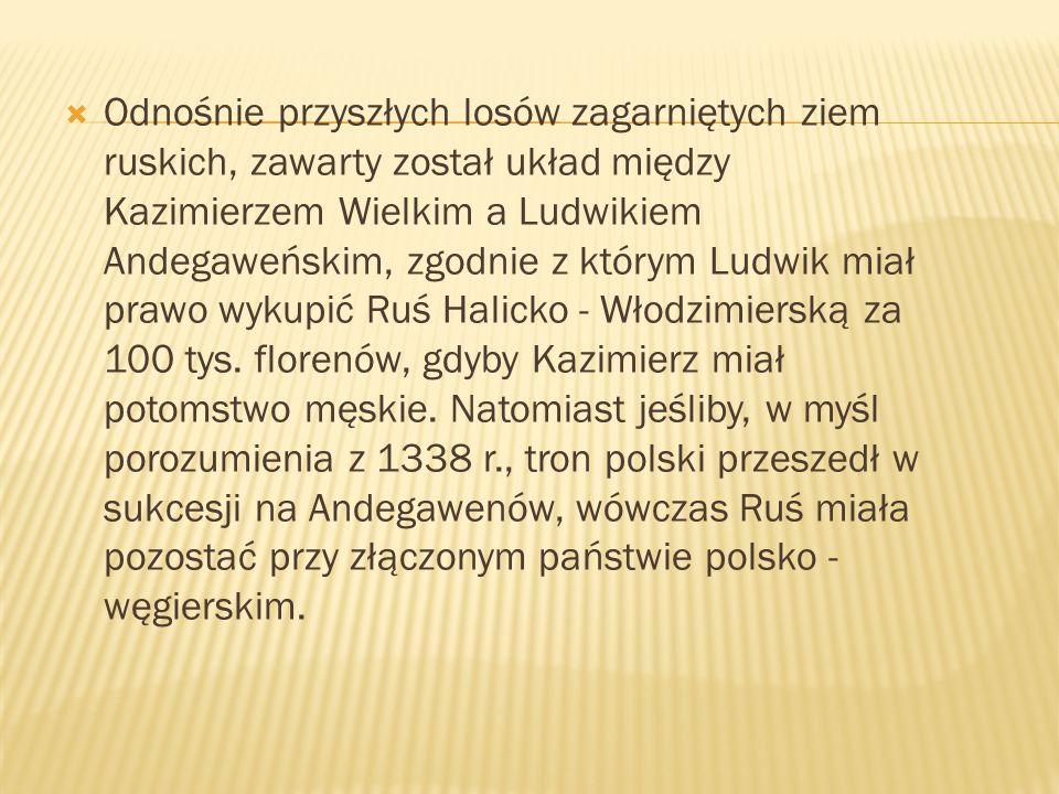 Odnośnie przyszłych losów zagarniętych ziem ruskich, zawarty został układ między Kazimierzem Wielkim a Ludwikiem Andegaweńskim, zgodnie z którym Ludwi