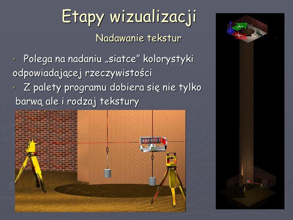 Etapy wizualizacji Nadawanie tekstur Etapy wizualizacji Nadawanie tekstur Polega na nadaniu siatce kolorystyki Polega na nadaniu siatce kolorystyki od