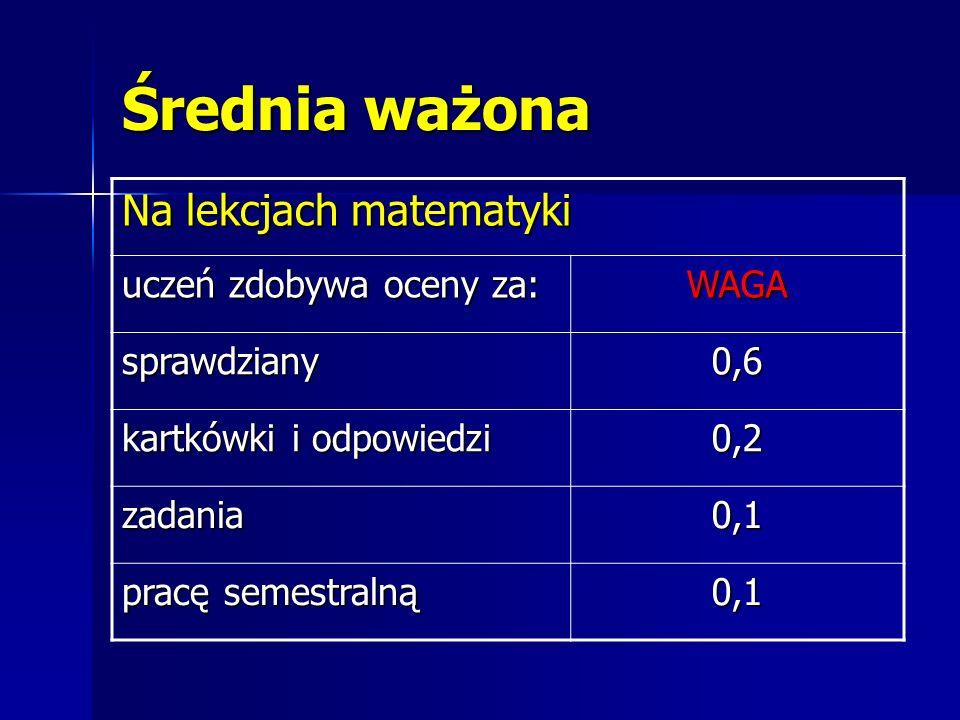 Średnia ważona Na lekcjach matematyki uczeń zdobywa oceny za: WAGA sprawdziany0,6 kartkówki i odpowiedzi 0,2 zadania0,1 pracę semestralną 0,1