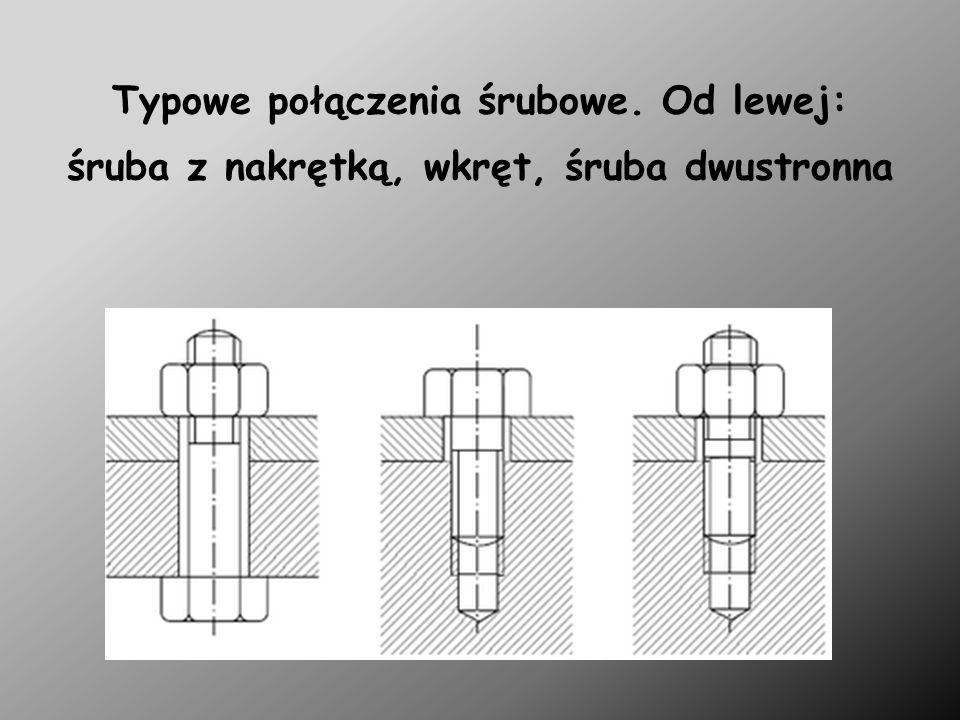 Łączniki gwintowe Śruba: element ruchowego połączenia gwintowego, mający gwint zewnętrzny; łącznik gwintowy (w pośrednim spoczynkowym połączeniu gwintowym) z gwintem zewnętrznym.