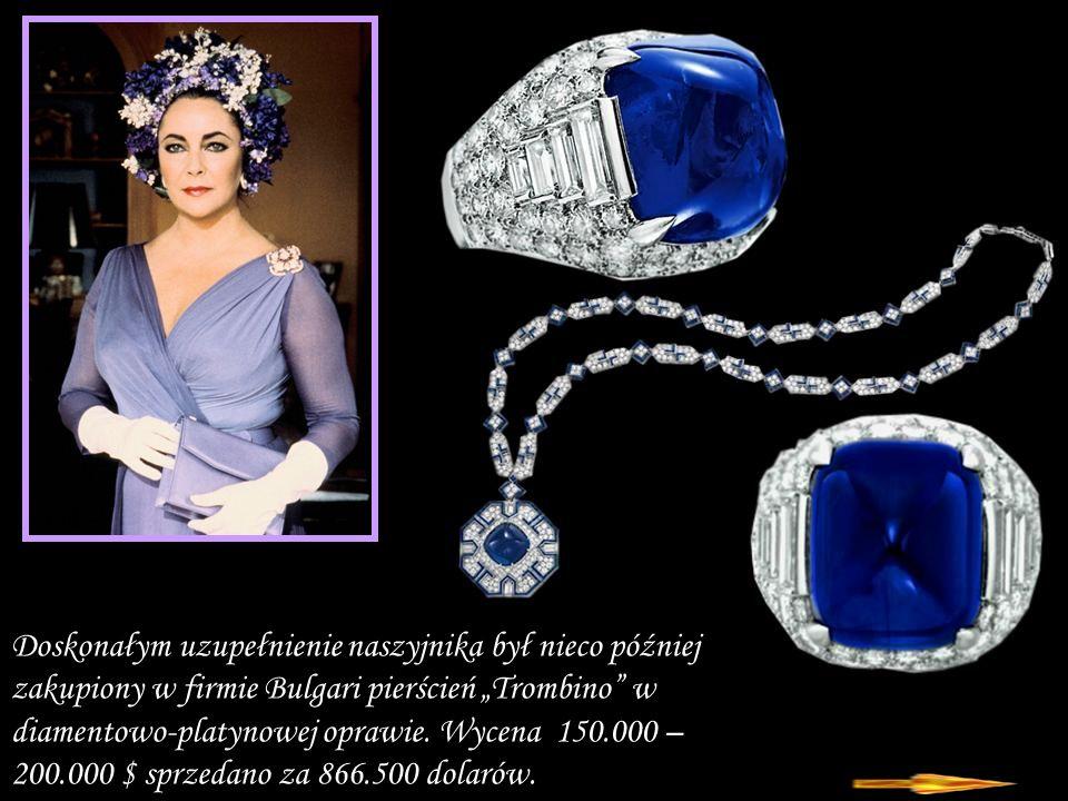 Da - Ma Doskonałym uzupełnienie naszyjnika był nieco później zakupiony w firmie Bulgari pierścień Trombino w diamentowo-platynowej oprawie.