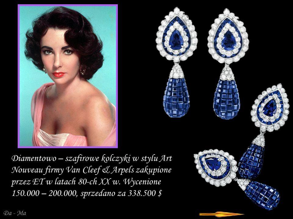 Da - Ma Diamentowo – szafirowe kolczyki w stylu Art Nouveau firmy Van Cleef & Arpels zakupione przez ET w latach 80-ch XX w.
