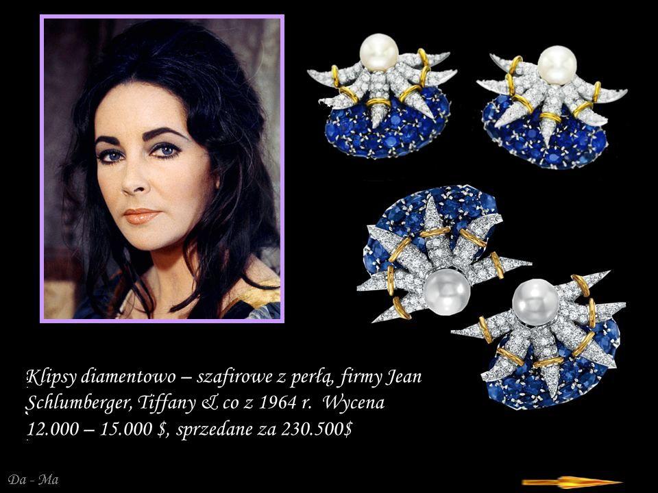Da - Ma Klipsy diamentowo – szafirowe z perłą, firmy Jean Schlumberger, Tiffany & co z 1964 r.