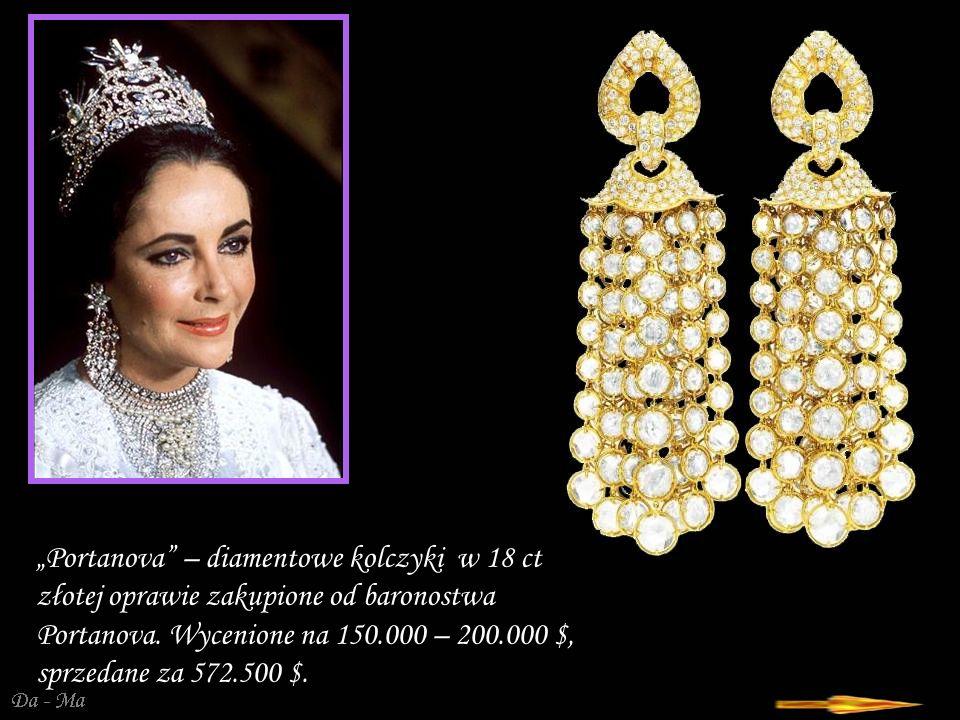 Da - Ma Portanova – diamentowe kolczyki w 18 ct złotej oprawie zakupione od baronostwa Portanova.