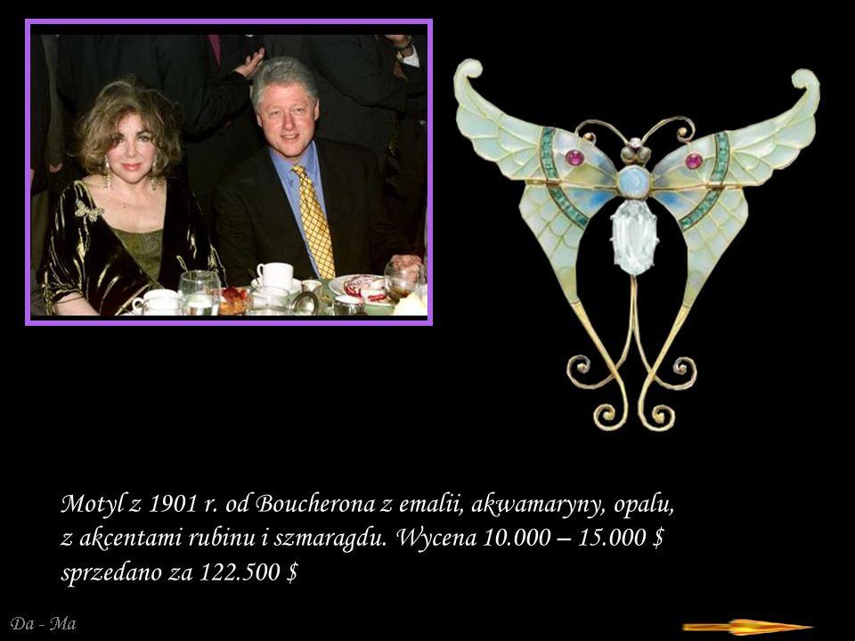 Da - Ma Motyl z 1901 r.od Boucherona z emalii, akwamaryny, opalu, z akcentami rubinu i szmaragdu.