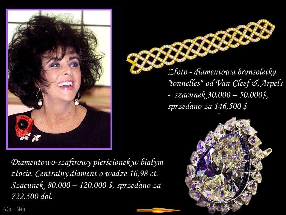 Da - Ma Złoto - diamentowa bransoletka tonnelles od Van Cleef & Arpels - szacunek 30.000 – 50.000$, sprzedano za 146,500 $ Diamentowo-szafirowy pierścionek w białym złocie.