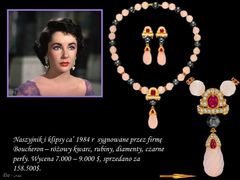 Da - Ma Naszyjnik i klipsy ca 1984 r sygnowane przez firmę Boucheron – różowy kwarc, rubiny, diamenty, czarne perły.