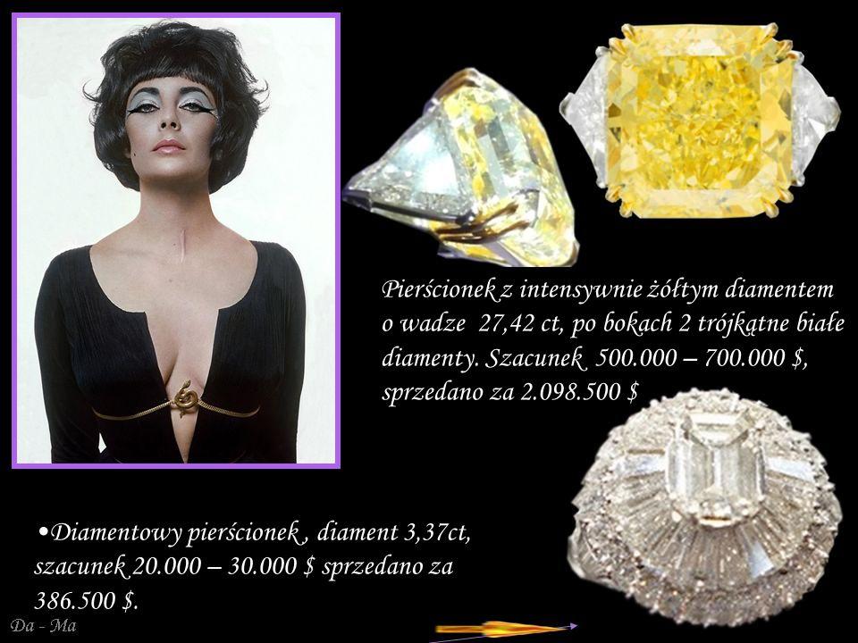 Da - Ma Pierścionek z intensywnie żółtym diamentem o wadze 27,42 ct, po bokach 2 trójkątne białe diamenty.