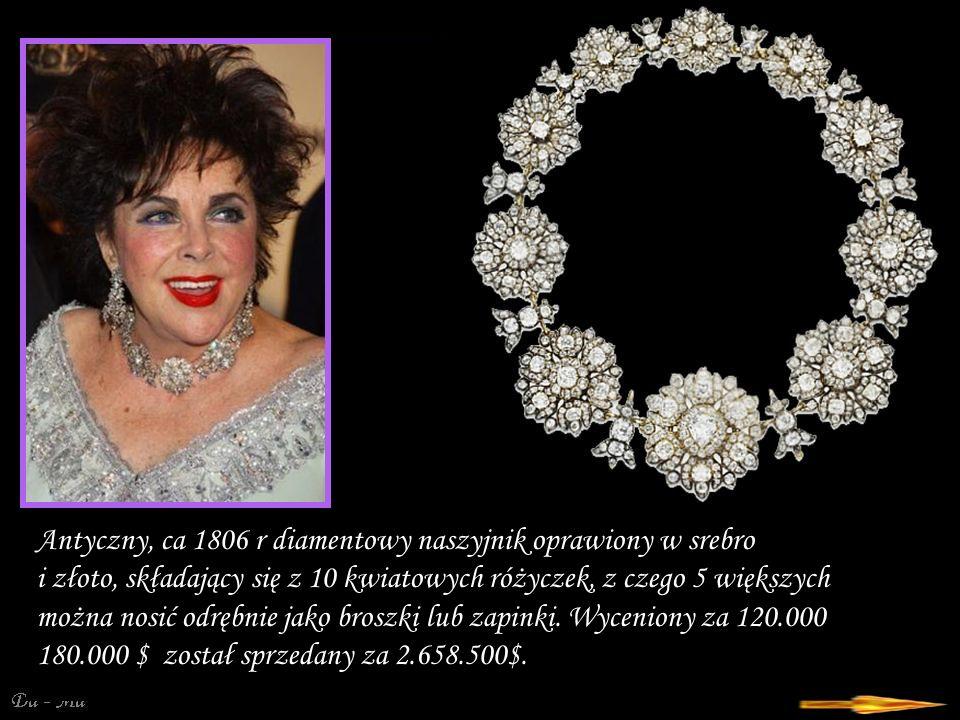 Da - Ma Antyczny, ca 1806 r diamentowy naszyjnik oprawiony w srebro i złoto, składający się z 10 kwiatowych różyczek, z czego 5 większych można nosić odrębnie jako broszki lub zapinki.