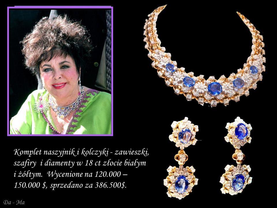 Da - Ma Komplet naszyjnik i kolczyki - zawieszki, szafiry i diamenty w 18 ct złocie białym i żółtym.