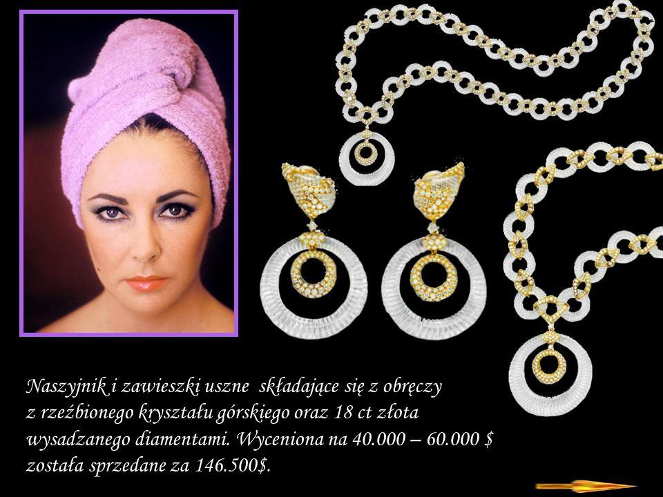 Da - Ma Naszyjnik i zawieszki uszne składające się z obręczy z rzeźbionego kryształu górskiego oraz 18 ct złota wysadzanego diamentami.
