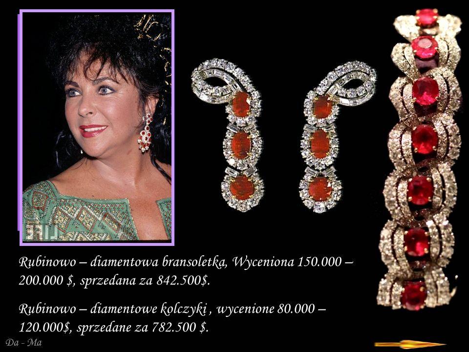 Da - Ma Rubinowo – diamentowa bransoletka, Wyceniona 150.000 – 200.000 $, sprzedana za 842.500$.