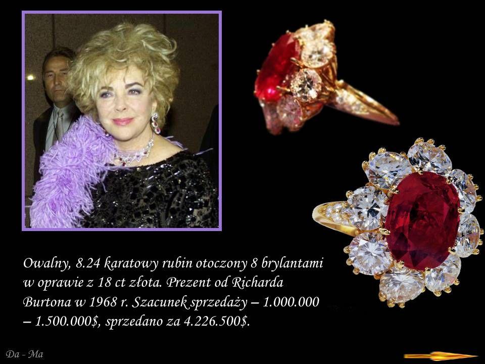 Da - Ma Owalny, 8.24 karatowy rubin otoczony 8 brylantami w oprawie z 18 ct złota.