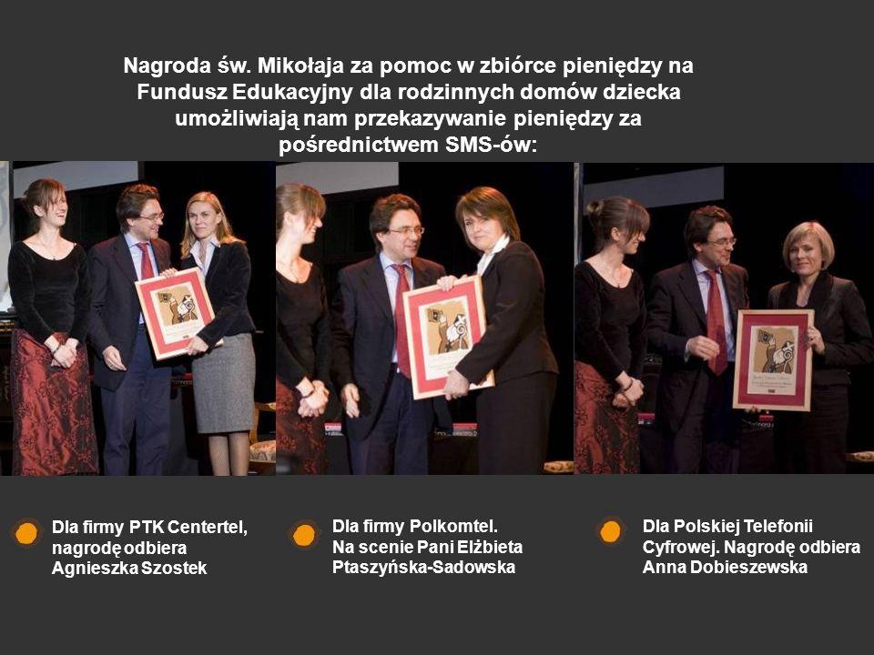 Dla firmy PTK Centertel, nagrodę odbiera Agnieszka Szostek Dla firmy Polkomtel. Na scenie Pani Elżbieta Ptaszyńska-Sadowska Dla Polskiej Telefonii Cyf