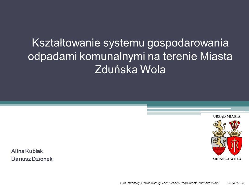 Alina Kubiak Dariusz Dzionek 2014-02-26Biuro Inwestycji i Infrastruktury Technicznej Urząd Miasta Zduńska Wola Kształtowanie systemu gospodarowania od