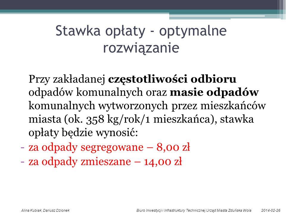 2014-02-26Alina Kubiak, Dariusz Dzionek Biuro Inwestycji i Infrastruktury Technicznej Urząd Miasta Zduńska Wola Stawka opłaty - optymalne rozwiązanie