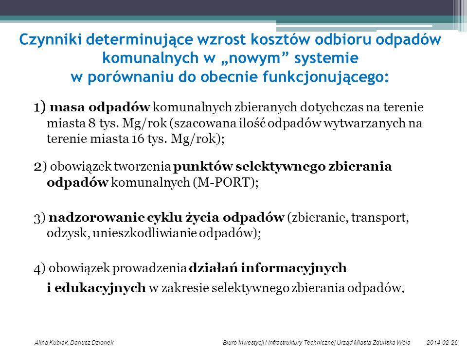 2014-02-26Alina Kubiak, Dariusz Dzionek Biuro Inwestycji i Infrastruktury Technicznej Urząd Miasta Zduńska Wola Czynniki determinujące wzrost kosztów