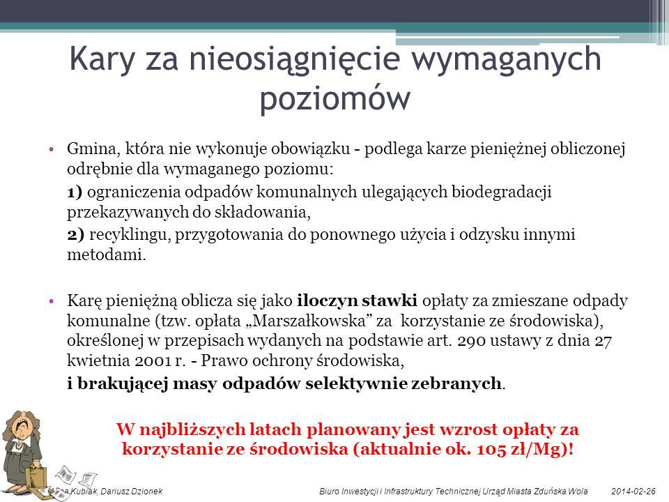 2014-02-26Alina Kubiak, Dariusz Dzionek Biuro Inwestycji i Infrastruktury Technicznej Urząd Miasta Zduńska Wola Kary za nieosiągnięcie wymaganych pozi