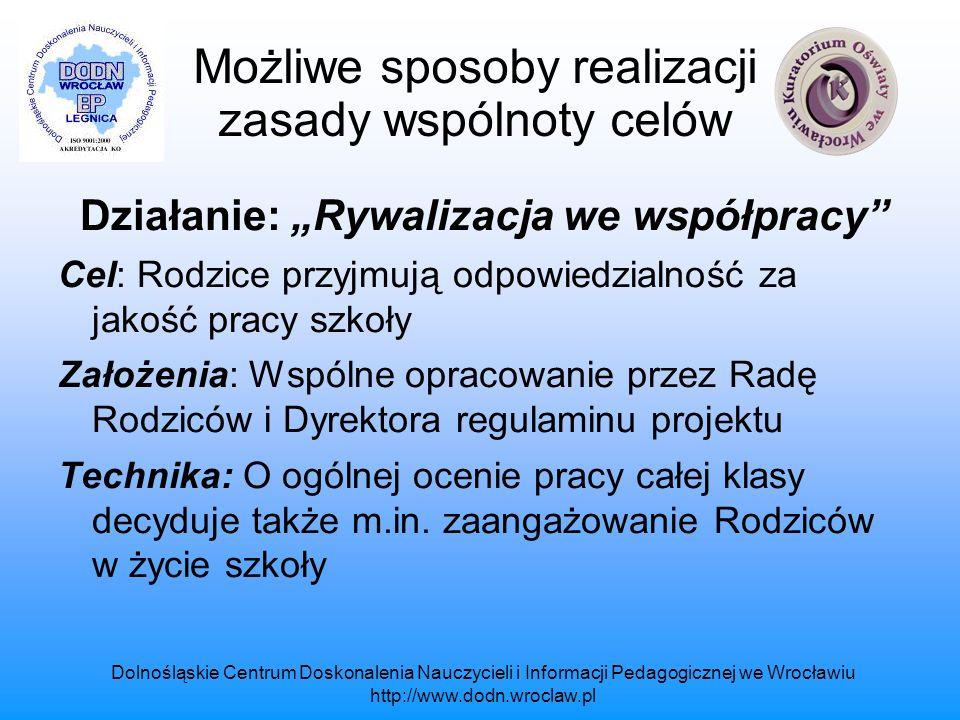 Dolnośląskie Centrum Doskonalenia Nauczycieli i Informacji Pedagogicznej we Wrocławiu http://www.dodn.wroclaw.pl Możliwe sposoby realizacji zasady wspólnoty celów Efekty działań: Rodzice aktywizują swoje działania np.