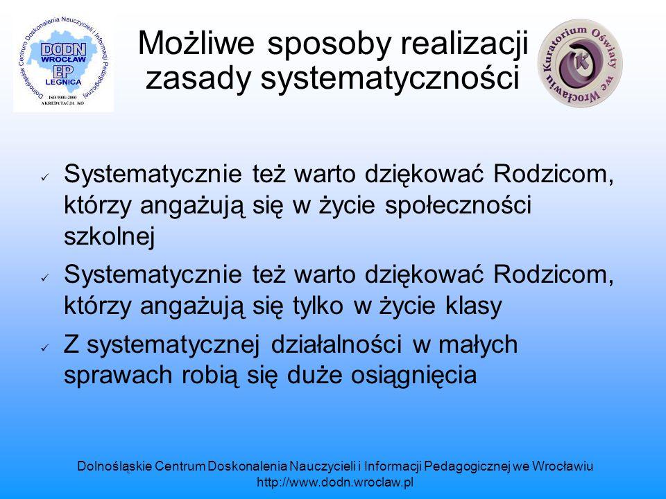 Dolnośląskie Centrum Doskonalenia Nauczycieli i Informacji Pedagogicznej we Wrocławiu http://www.dodn.wroclaw.pl Warunki dobrej współpracy między Rodzicami i Nauczycielami Pytania, które mogą zachęcać, inspirować do dobrej współpracy na rzecz dobra dziecka