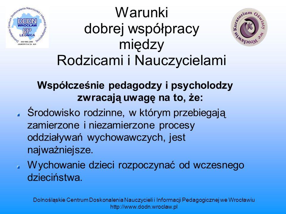 Dolnośląskie Centrum Doskonalenia Nauczycieli i Informacji Pedagogicznej we Wrocławiu http://www.dodn.wroclaw.pl Warunki dobrej współpracy między Rodzicami i Nauczycielami Rodzic jako opiekun spolegliwy życzliwy wobec ludzi, odpowiedzialnie traktuje swoje zobowiązania wobec innych, rzetelny, uczciwy, empatyczny.