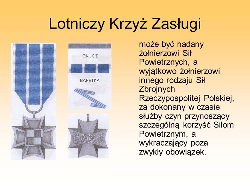Lotniczy Krzyż Zasługi może być nadany żołnierzowi Sił Powietrznych, a wyjątkowo żołnierzowi innego rodzaju Sił Zbrojnych Rzeczypospolitej Polskiej, z