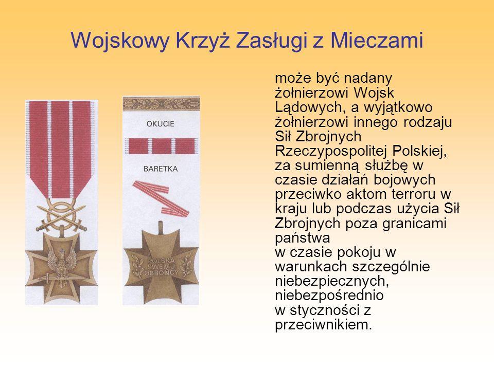 Morski Krzyż Zasługi z Mieczami może być nadany żołnierzowi Marynarki Wojennej, a wyjątkowo żołnierzowi innego rodzaju Sił Zbrojnych Rzeczypospolitej Polskiej, za rzetelną i sumienną służbę w czasie działań bojowych przeciwko aktom terroru w kraju lub podczas użycia Sił Zbrojnych poza granicami państwa w czasie pokoju w warunkach szczególnie niebezpiecznych, niebezpośrednio w styczności z przeciwnikiem