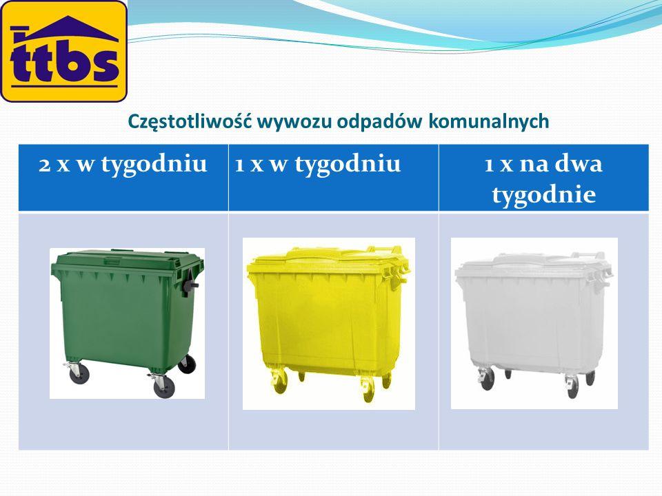 Częstotliwość wywozu odpadów komunalnych 2 x w tygodniu1 x w tygodniu1 x na dwa tygodnie