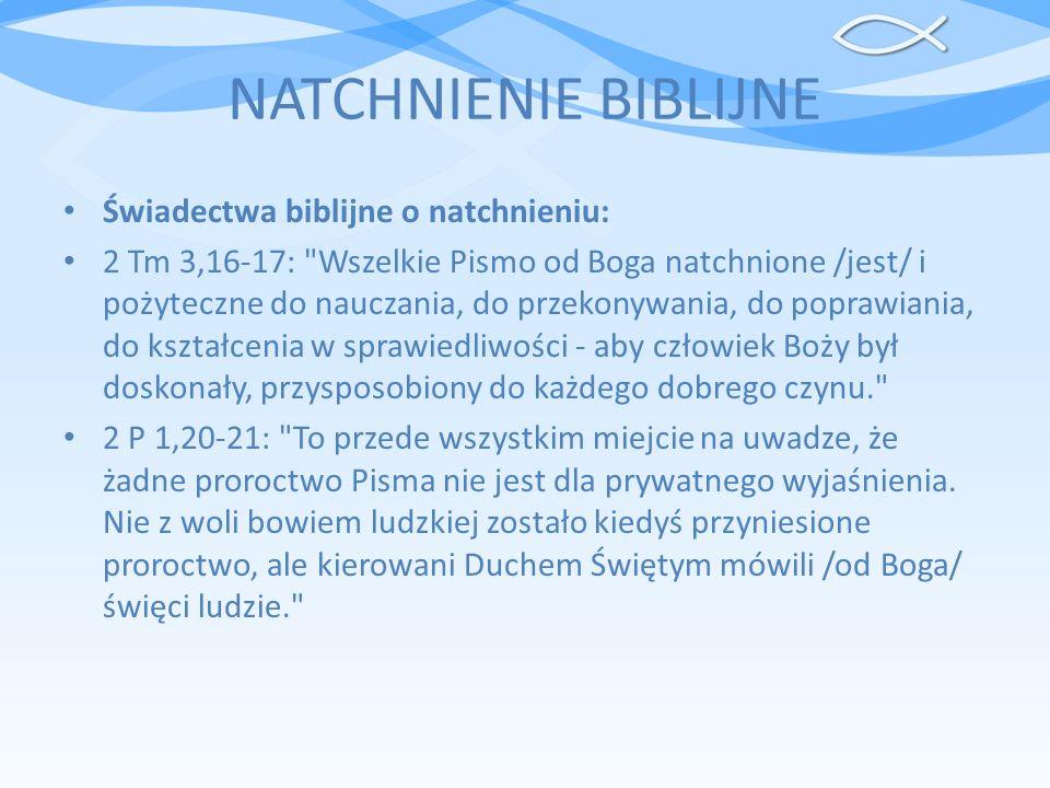 NATCHNIENIE BIBLIJNE Świadectwa biblijne o natchnieniu: 2 Tm 3,16-17: