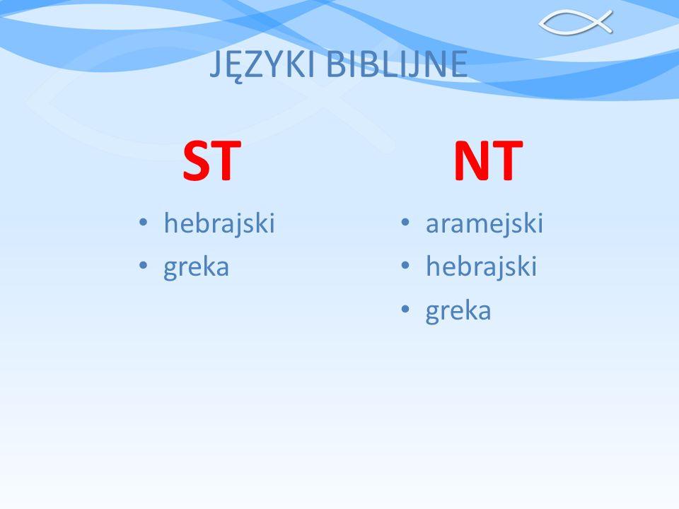 JĘZYKI BIBLIJNE ST hebrajski greka NT aramejski hebrajski greka