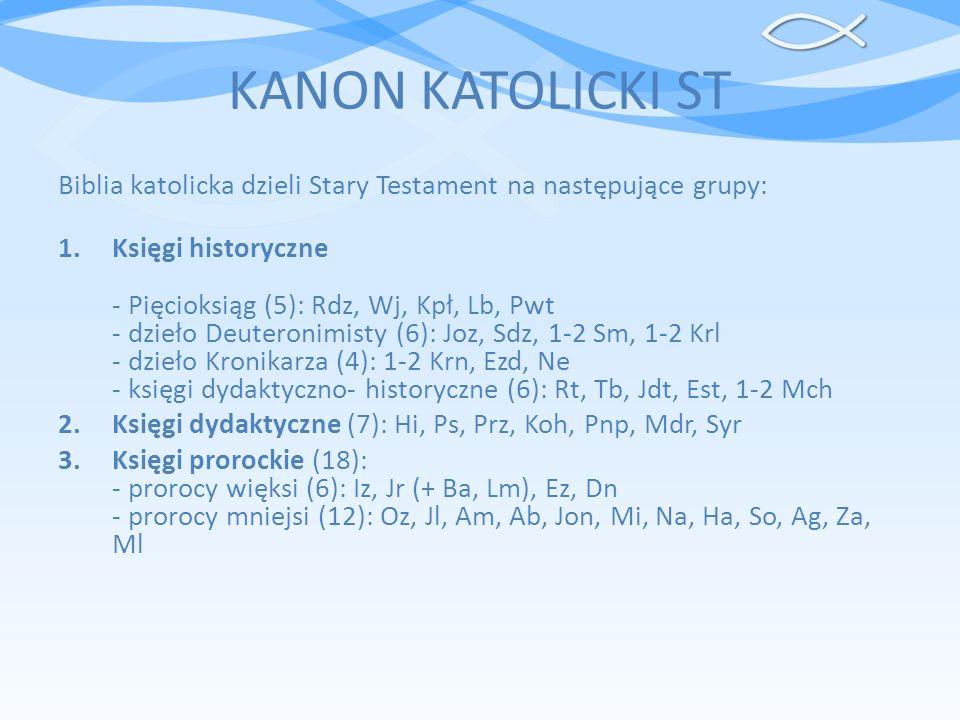 KANON KATOLICKI ST Biblia katolicka dzieli Stary Testament na następujące grupy: 1.Księgi historyczne - Pięcioksiąg (5): Rdz, Wj, Kpł, Lb, Pwt - dzieł